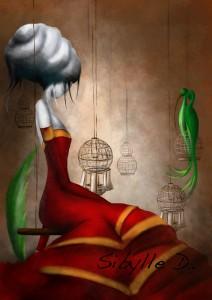 la fille à la robe rouge applatit